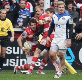 Gloucester wing Tom Voyce is congratulated after scoring