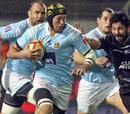 Perpignan lock Rimas Alvarez Kairelis evades the Bayonne defence