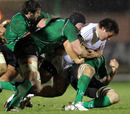 Aironi's Alberto DeMarchi is hauled down by the Connacht defence