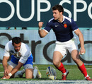 France wing Vincent Clerc celebrates his try