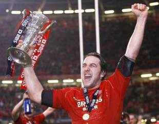 Wales captain Ryan Jones lifts the Six Nations trophy, March 15 2008