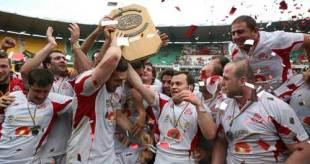 Georgia celebrate with the European Nations Cup, March 2008