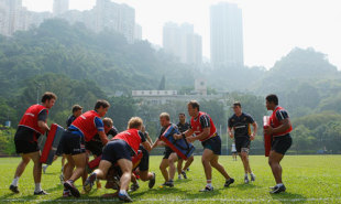 Wallaby players in action during an Australian Wallabies training session at the Sookunpoo Sports Ground on October 30, 2008 in Hong Kong, China.