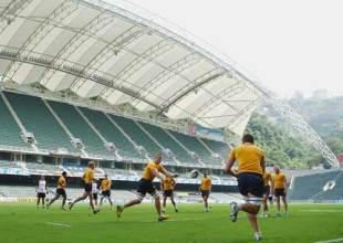 Mark Chisholm of the Wallabies passes the ball during the Australian Wallabies captain's run at Hong Kong Stadium on October 31, 2008 in Hong Kong, China.
