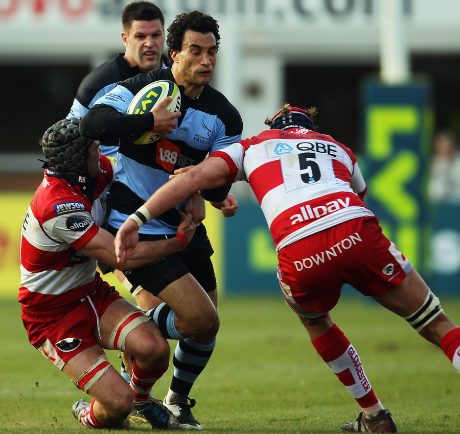 Newcastle's Tane Tu'ipulotu is shackled by the Gloucester defence, Gloucester v Newcastle Falcons, Anglo-Welsh Cup, Franklin's Gardens, Northampton, England, March 20, 2011