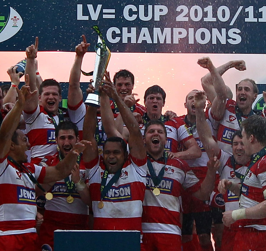 Gloucester celebrate their Anglo-Welsh Cup win