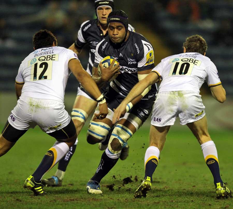 Sale's Wame Lewaravu takes on the Leeds defence