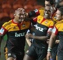 The Chiefs' Sona Taumalolo is congratulated on a try