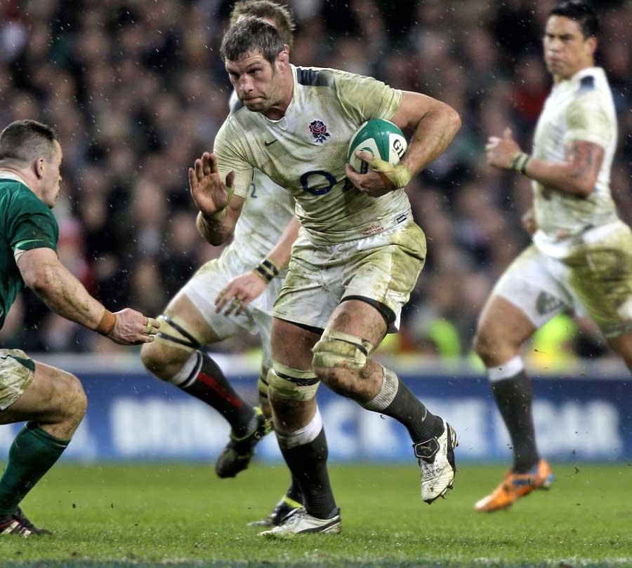 England lock Simon Shaw takes the attack to Ireland