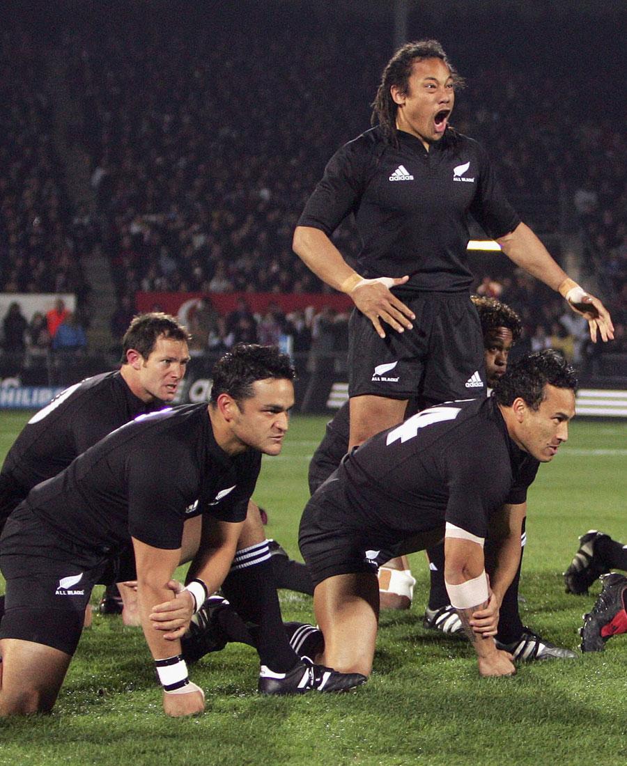 All Blacks skipper Tana Umaga leads the haka