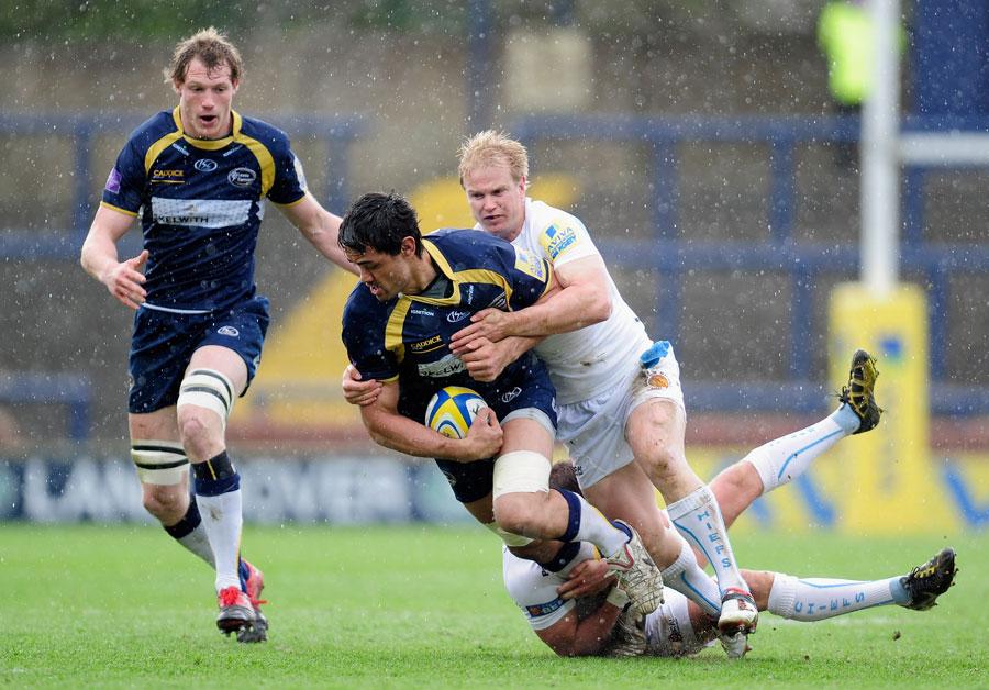 Leeds No.8 Alfie To'oala is wrestled to the floor