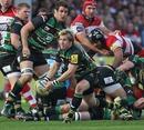 Northampton's Stuart Commins feeds his back line