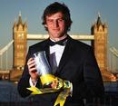 Northampton's Tom Wood poses with the Aviva Premiership Player of the Season award