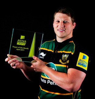 Northampton's Dylan Hartley poses with the Aviva Premiership Player of the Month award for April, May 12, 2011