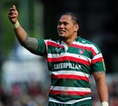 Leicester's Alesana Tuilagi salutes the Tigers' fans