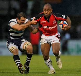 Saracens scrum half Moses Rauluni breaks the tackle of Joe EL Abd during the EDF Energy Group D Match between Bristol Rugby and Saracens at The Memorial Stadium in Bristol, England on November 1, 2008.