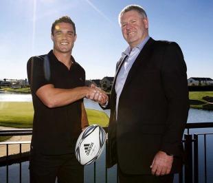All Blacks fly-half Dan Carter and NZRU chief executive Steve Tew