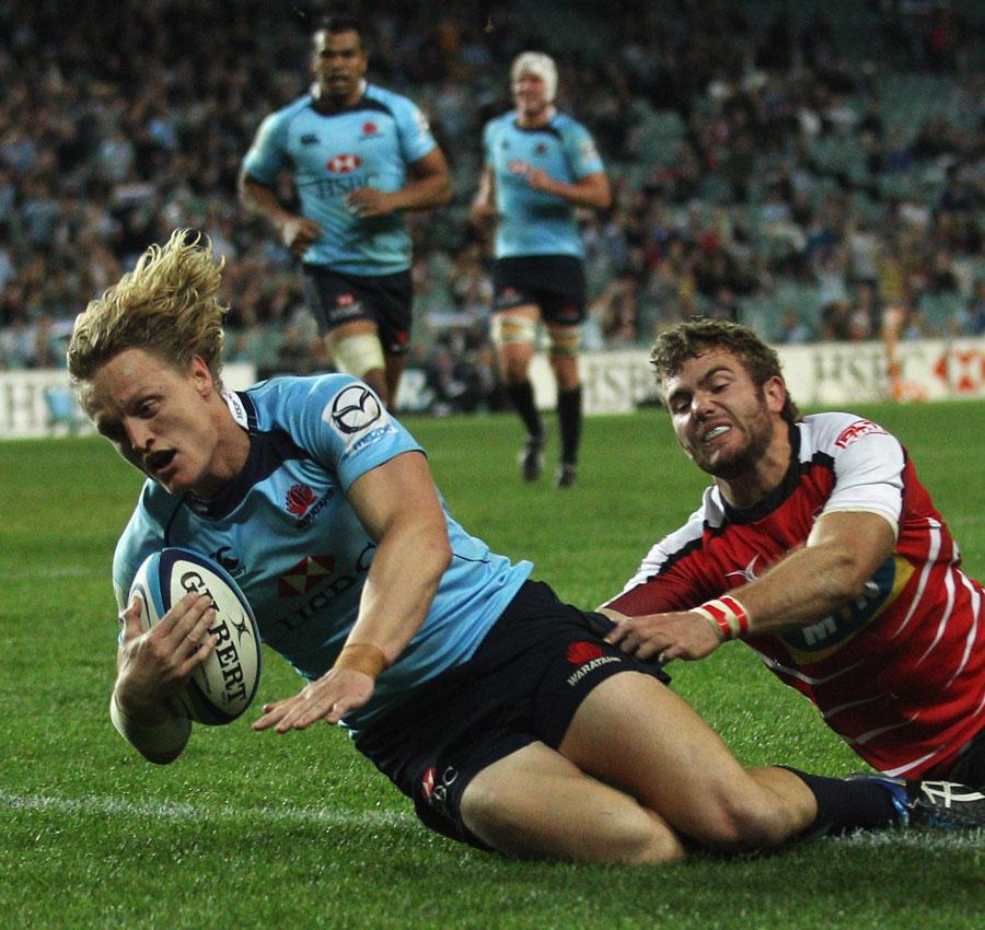 Waratahs centre Ryan Cross scores in the corner, Waratahs v Lions, Super Rugby, Sydney Football Stadium, Sydney, Australia, May 21, 2011