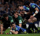 Leinster fly-half Jonny Sexton touches down
