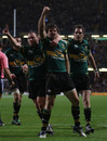 Northampton fullback Ben Foden celebrates his score
