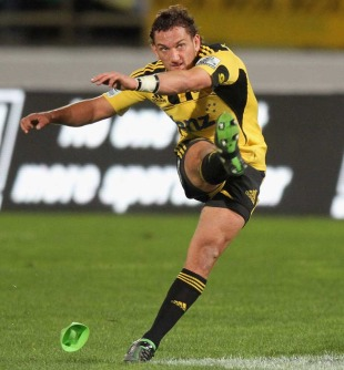 Hurricanes fly-half Aaron Cruden slots a kick, Hurricanes v Western Force, Super Rugby, Westpac Stadium, Wellington, New Zealand, May 27, 2011