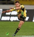 Hurricanes fly-half Aaron Cruden slots a kick