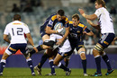 Brumbies flanker Mitch Chapman is stopped in his tracks