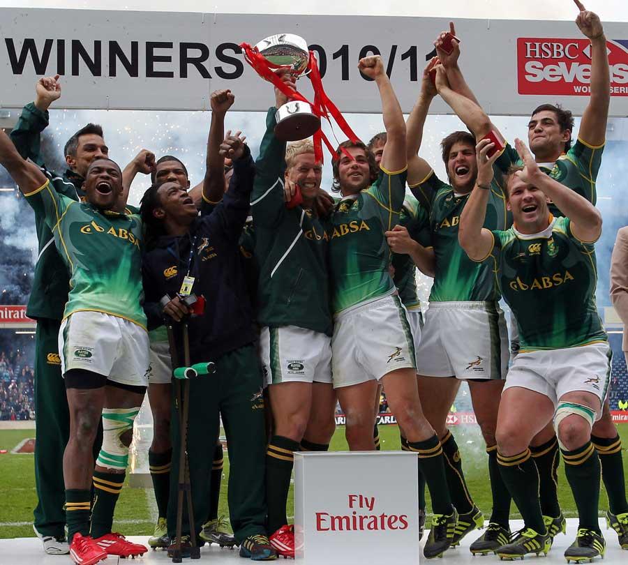South Africa celebrate winning the Edinburgh 7s crown