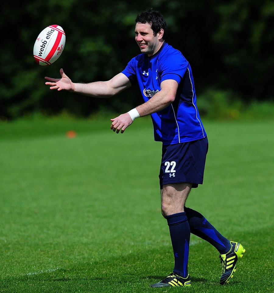 Wales fly-half Stephen Jones in training