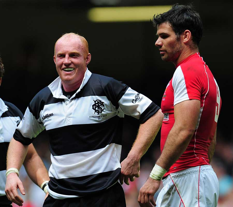 Barbarians flanker Martyn Williams laughs at the final whistle