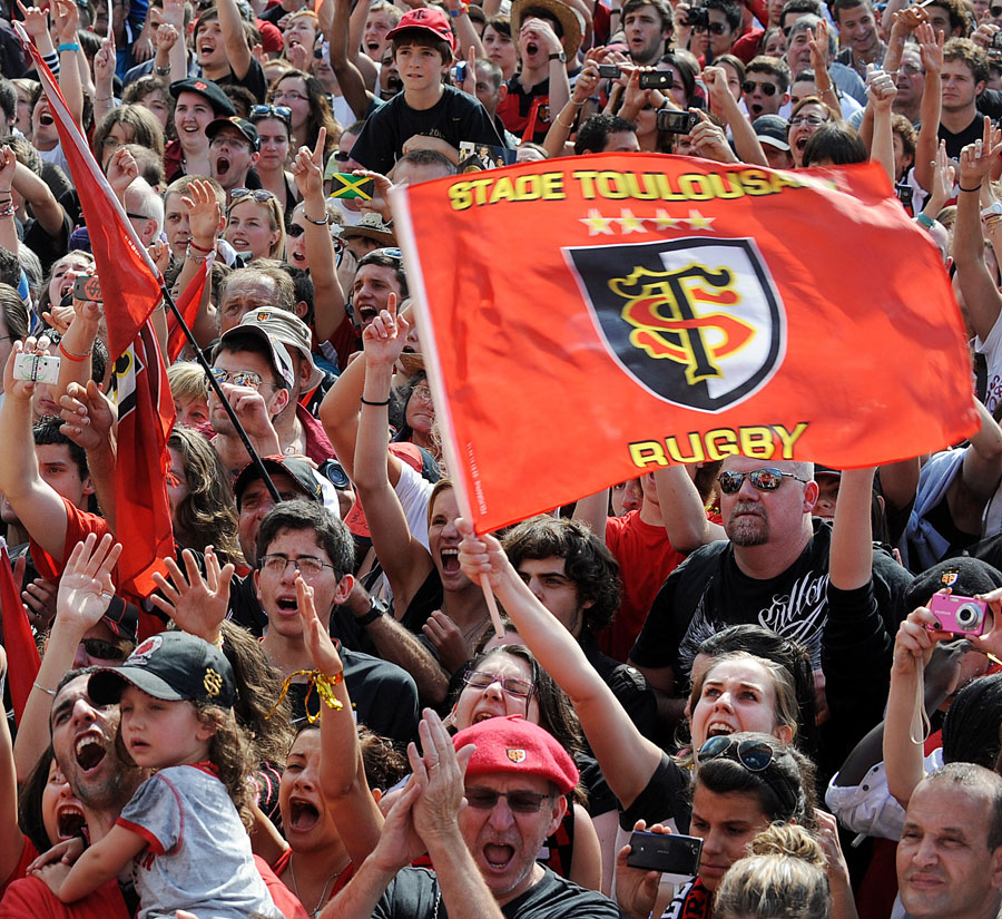 Toulouse fans celebrate their side's Top 14 victory