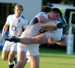 England's Owen Farrell tackles Ireland's Brendan Macken, England U20s v Ireland U20s, IRB Junior World Championship, Treviso, Italy, June 10, 2011