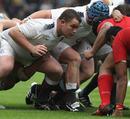 England Saxons prop Matt Stevens prepares to pack down