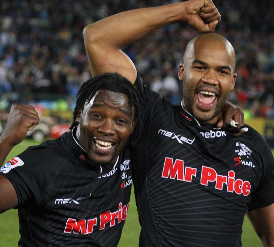 The Sharks' Lwazi Mvovo and JP Pietersen celebrate beating the Bulls