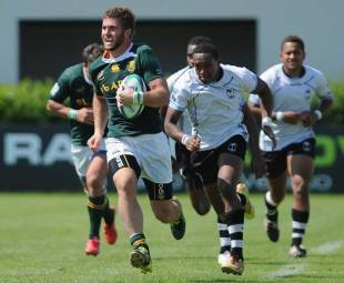 South Africa's Jaco Taute races away