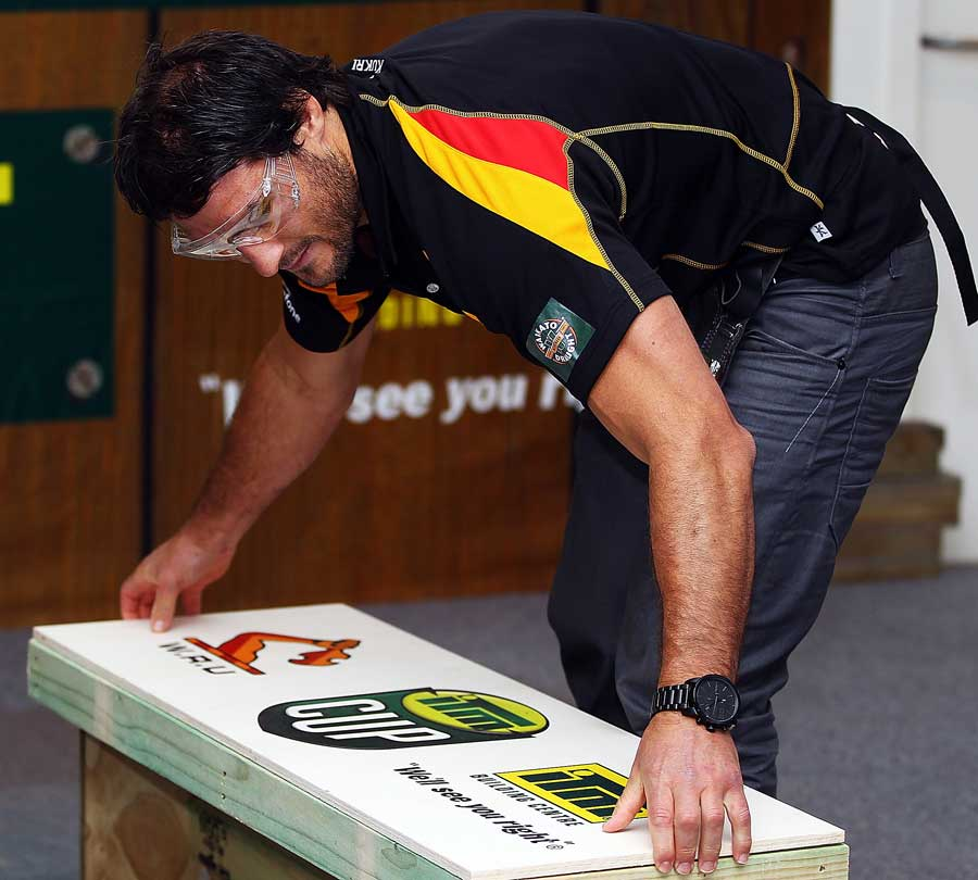 Waikato's Marty Holah builds a bench during the 2011 ITM Cup launch