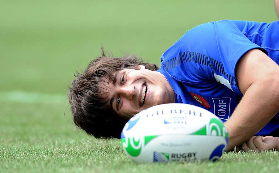French fly-half David Skrela takes a break