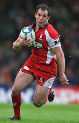 Gareth Cooper of Gloucester runs with the ball during the Heineken Cup match between Cardiff Blues and Gloucester at the Millennium Stadium  in Cardiff, Wales on October 19, 2008.