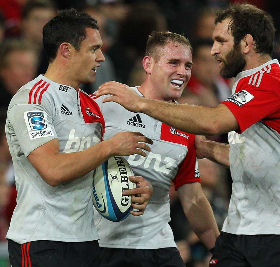 Crusaders fly-half Dan Carter takes the plaudits following his try