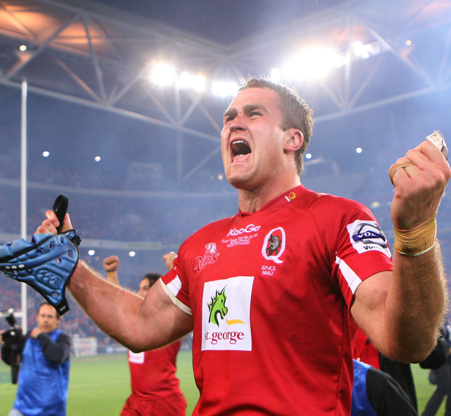 Reds captain James Horwill salutes the crowd