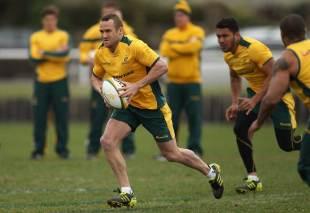 Wallabies fly-half Matt Giteau looks to lead the line during training