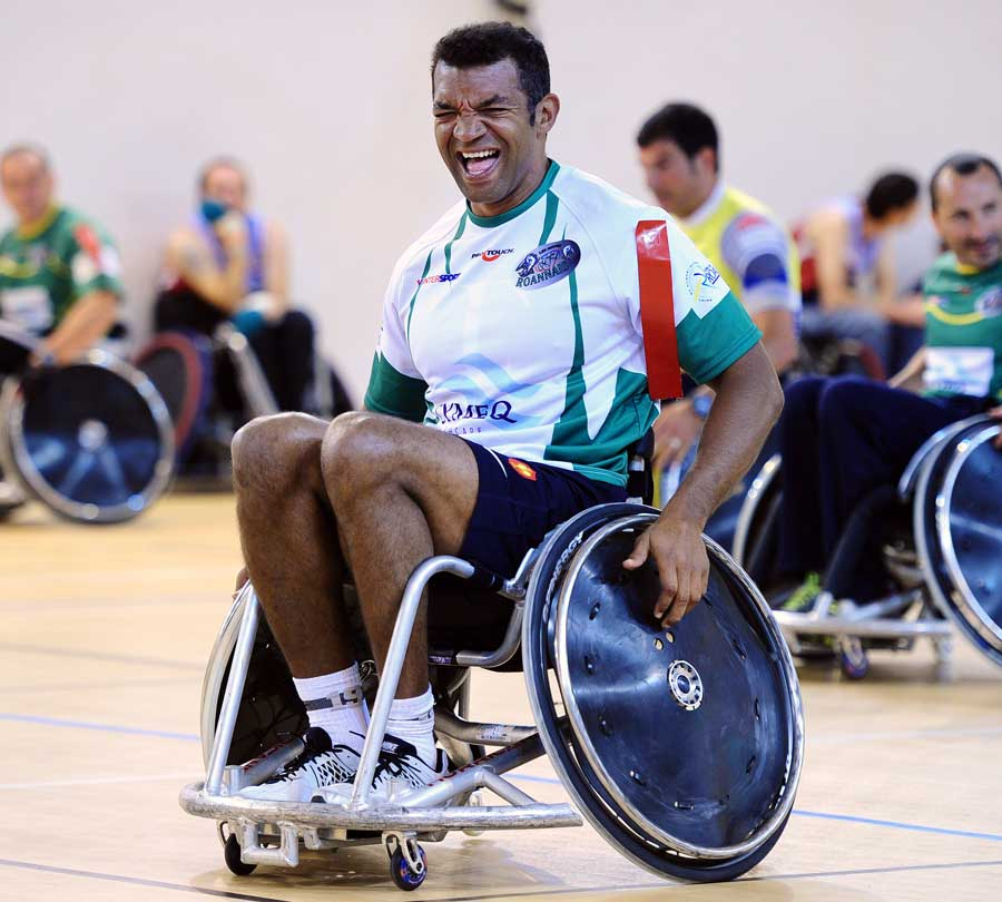 France backs coach Emile N'Tamack grimaces during a game of wheelchair rugby