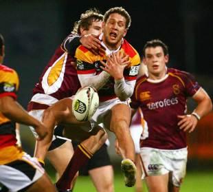 Waikato's Tawera Kerr-Barlow spills the ball under pressure