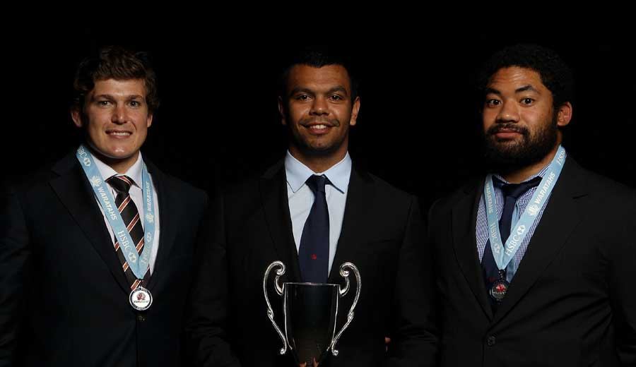 Luke Burgess (l), Kurtley Beale (c) and Tatafu Polota-Nau (r) pick up their accolades