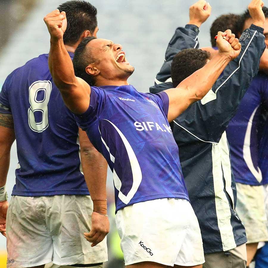 Samoa's Eliota Fuimaono-Sapolu celebrates his side's victory, Australia v Samoa, ANZ Stadium, Sydney, Australia, July 17, 2011