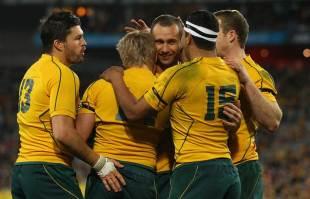The Wallabies celebrate a try, Australia v South Africa, Tri-Nations, ANZ Stadium, Sydney, Australia, July 23, 2011