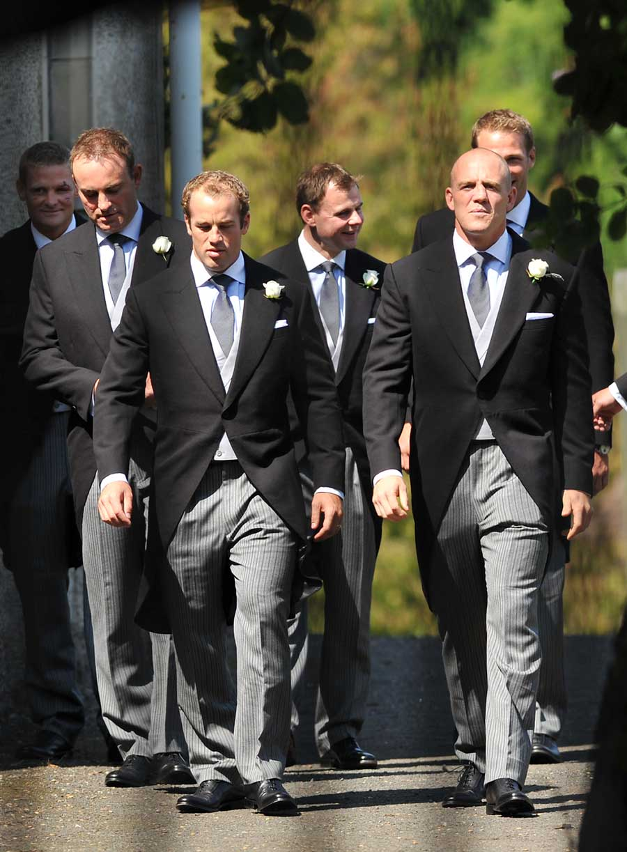 Mike Tindall arrives with Iain Balshaw (far left), James Simpson-Daniel (third left), Andy Beattie (right) for his wedding with Zara Phillips