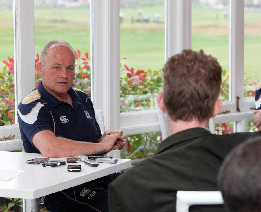 Scotland's Andy Robinson fields questions during their press conference