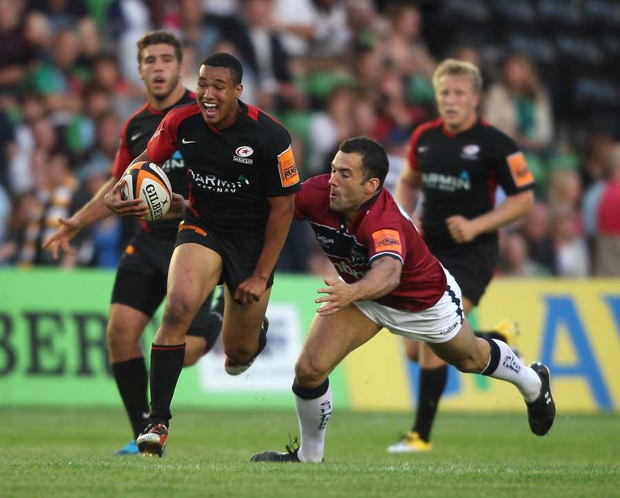 Saracens' Marcus Watson makes a break
