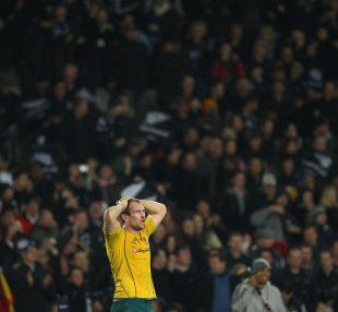 Australia captain Rocky Elsom is left forlorn at full-time, New Zealand v Australia, Tri-Nations, Eden Park, Auckland, New Zealand, August 6, 2011
